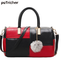 2017 Spring Designer PU Leather Patchwork Red Black Handbags Crossbody Bags Women Tassel Venonat Tote Bag