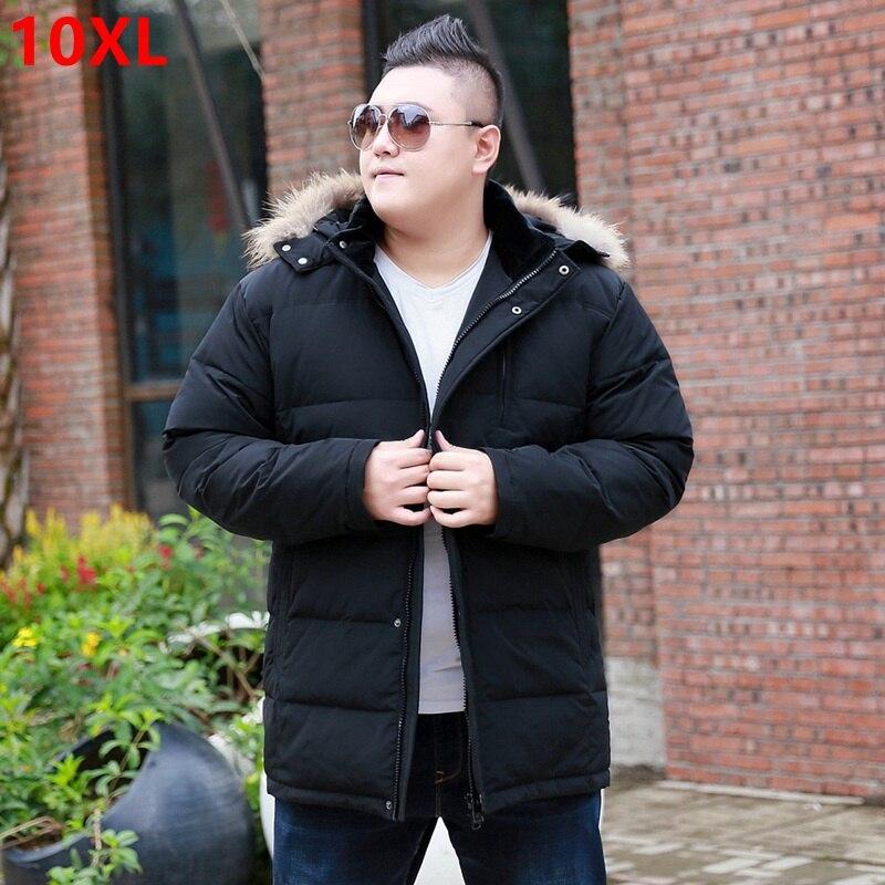 Erkek Kıyafeti'ten Şişme Ceketler'de Ekstra büyük aşağı ceket erkek artı boyutu 10XL 9XL 8XL erkek sıcak ceket Büyük kürk yaka ayrılabilir kap erkek'da  Grup 1