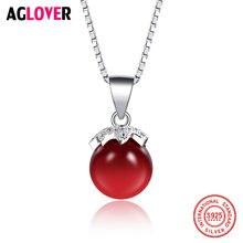 Женское ожерелье из серебра 925 пробы с красным кристаллом