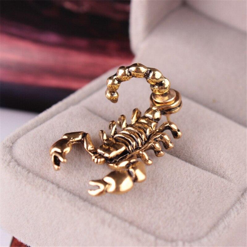 ZN 1pcs Vintage Ancient Men Women 3D Animal Metal Scorpion Ear Stud Earrings Electronicwholesale