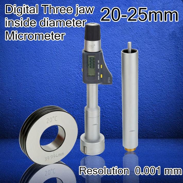 20 25mm Resolution 0 001 mm Digital display Three jaw inside diameter micrometer High quality measurement