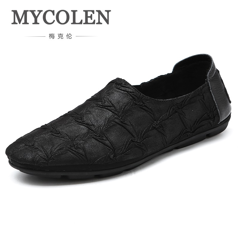 MYCOLEN New 2018 High Quality Men Shoes Soft Leather Casual Men's Shoes Breathable Loafers Chic Brand Shoes Sapato Social mycolen fashion brand men shoes winter handsome business casual shoes breathable men s leather shoes man derby sapato social