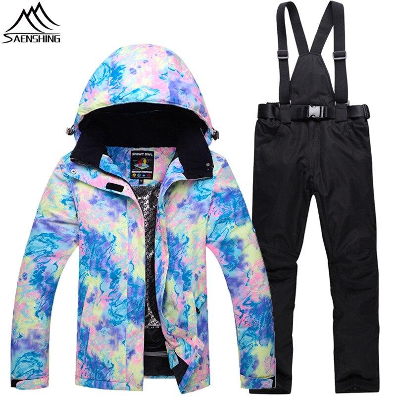 SAENSHING Winter Ski Suit Women Snowboarding Suits Mountain Skiing Ski jacket+Snowboard Pants Female Waterproof Snow Ski Sets mountain skiing suit women 2017 new ski