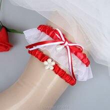 Red Wedding Garter Set With Pearl Bead Handmade Keepsake Garter and Toss Garter Wedding Dress Accessories