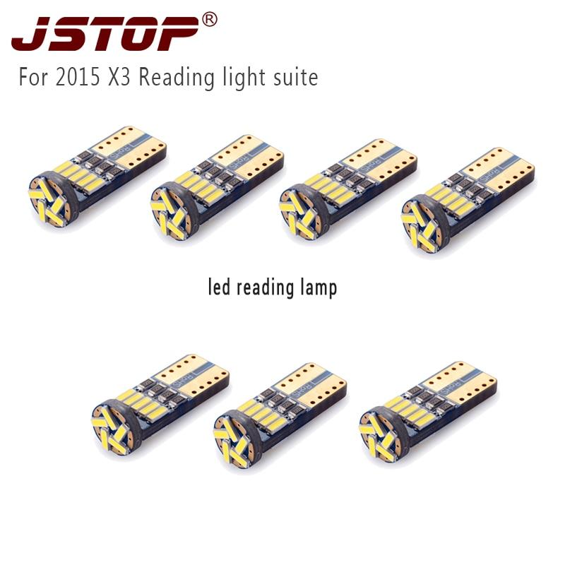 JSTOP 7 unids / set para 2015 X3 led T10 w5w lámparas de lectura de - Luces del coche