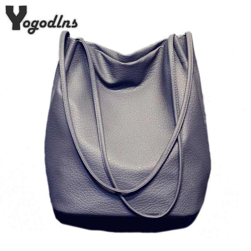 a620d356cd Hot Designer Women Leather Handbags Large Capacity Ladies Shopping Bag  Bolsa Black Bucket Shoulder Bags Ladies
