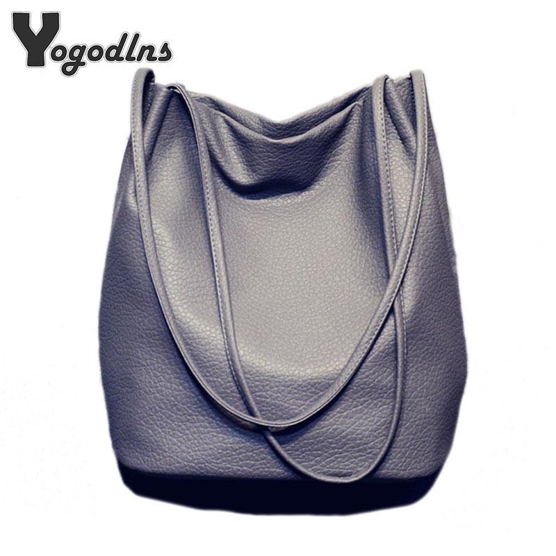 Hot Designer Women Leather Handbags Large Capacity Ladies Shopping Bag Bolsa Black Bucket Shoulder Bags Ladies Crossbody Bags