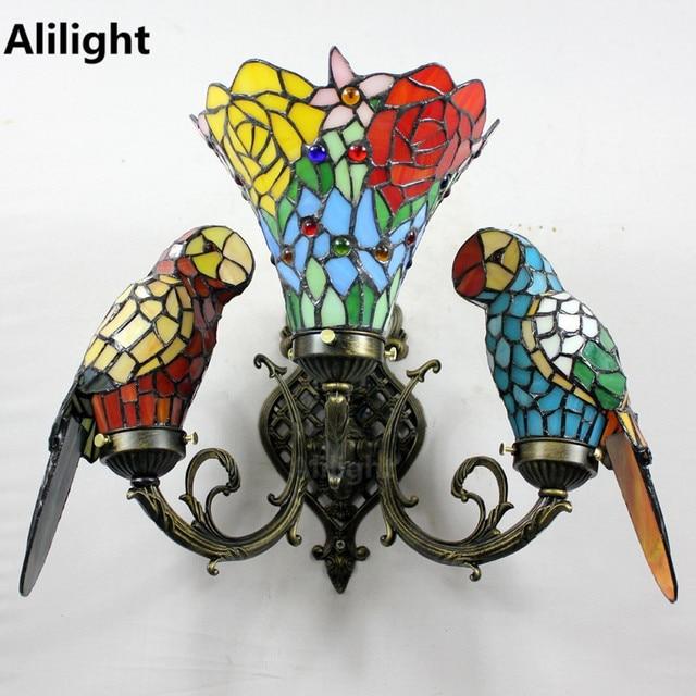 Baroque Art Decor Color Gl Parrot Wall Lamp Bedroom Bedside Vintage Light Tiffany Sconces Parrots