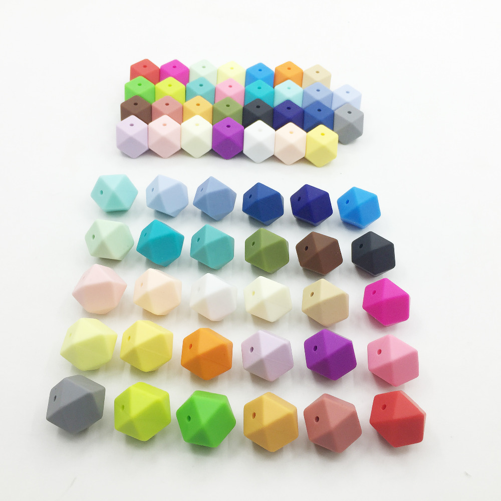 23 2MM Biggest Geometric Hexagon Silicone Beads DIY Lot of 50pcs Hexagon Loose Individual Silicone Beads