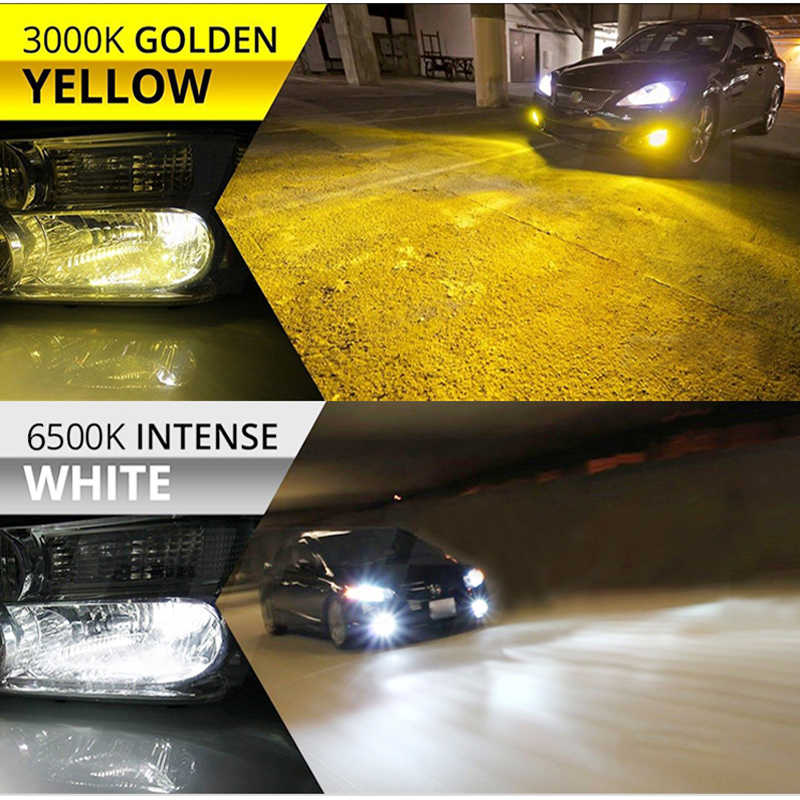 BraveWay 3000K Yellow+6500K White Dual LED Fog Lights for Car H1 H3 H7 H8 H11 HB3 HB4 9006 ice lamp for auto Fog Lamp tumanki