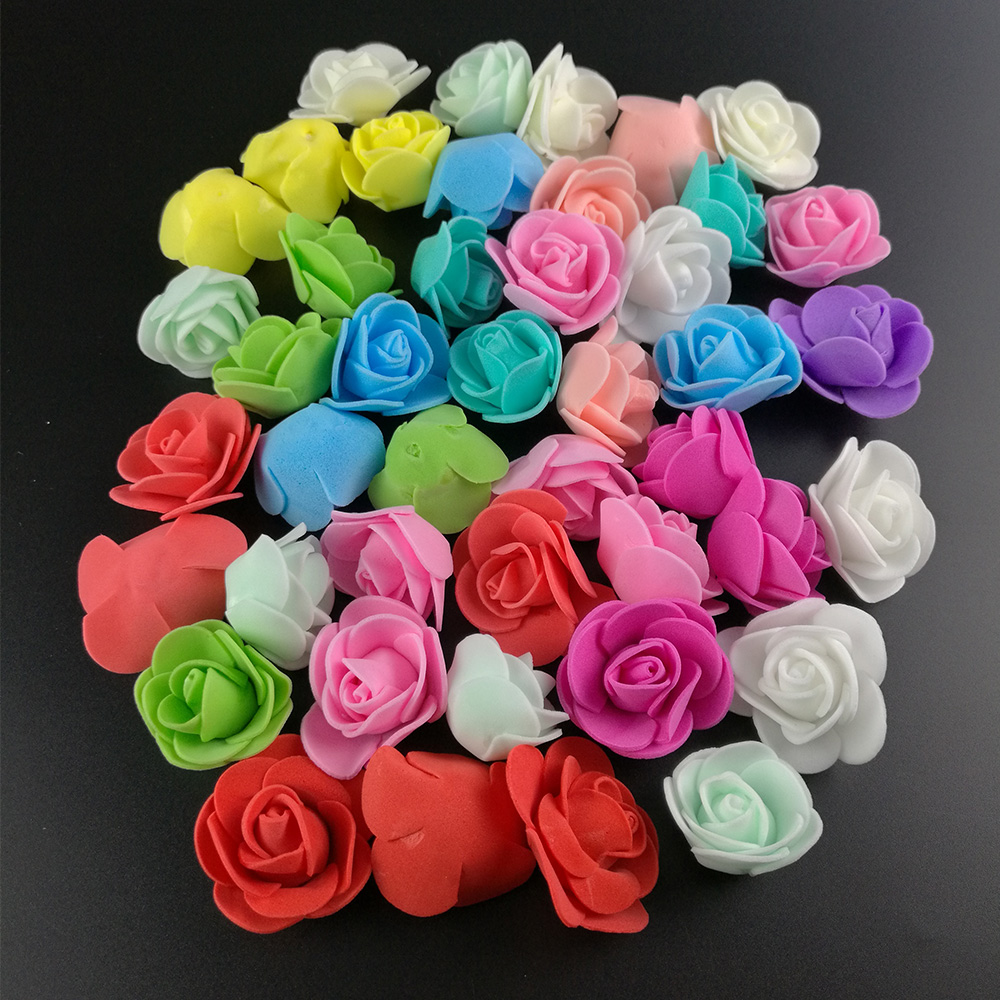 100 шт./лот около 3 см мини пенополиэтилен роза искусственный цветок голову для Свадебные украшения DIY Скрапбукинг венок подарок поддельные цветы