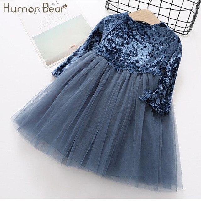 הומור דוב ארוך שרוול ילדי שמלה חדש סתיו אופנה סגנון תינוק בנות שמלת מסיבת נסיכת שמלת ילדים שמלת ילדי בגדים