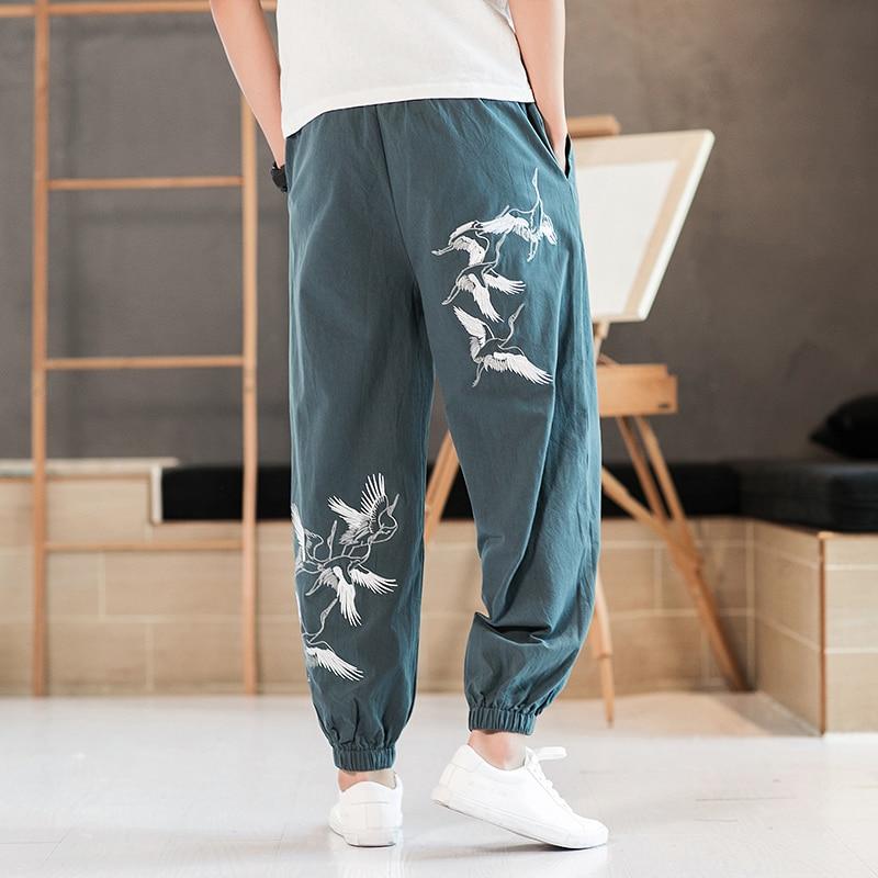Printed Wide Leg Harem Pants Men Casual Cotton Sweatpants Elastic Waist Plus Size Clothing Breathable Streetwear Hombre in Harem Pants from Men 39 s Clothing