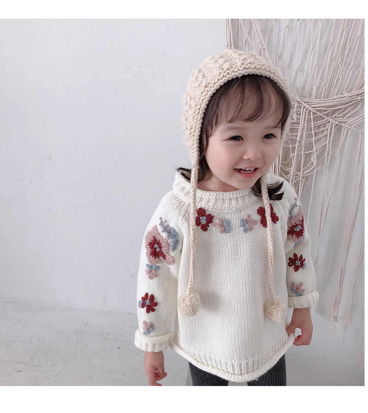 76d996e5296 ... 2018 Winter Floral Embroidery Knitted Children Girls Sweaters Handmade  Flower Baby Pullover Cardigan Toddler Kids Clothes ...