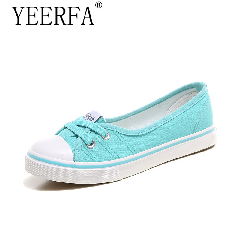 YIERFA Spring autumn light canvas shoes women shoes comfortable slip-on Korean tide students set foot pedal flat shoes 35-40 eur