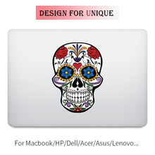 Flower Skull Art Colorful Laptop Sticker for Apple Macbook Decal Pro Air Retina 11 12 13 15 inch Vinyl Mac Mi Surface Book Skin