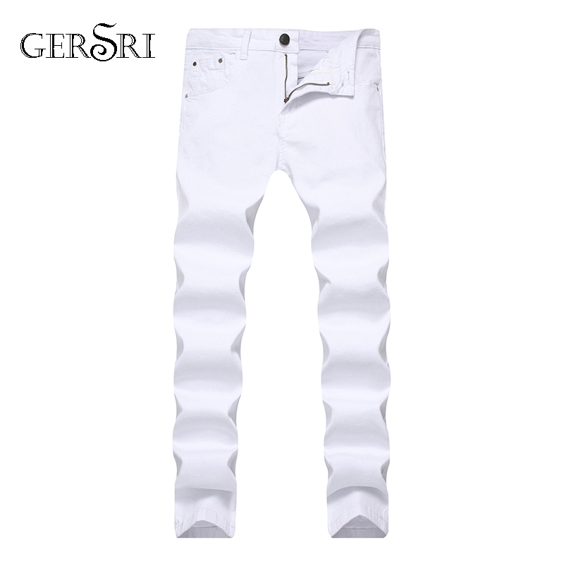 Gersri Men's Jeans Business Casual Slim Straight Jeans Stretch Denim Pants Trousers Classic Cowboys Young Man Straight Jean