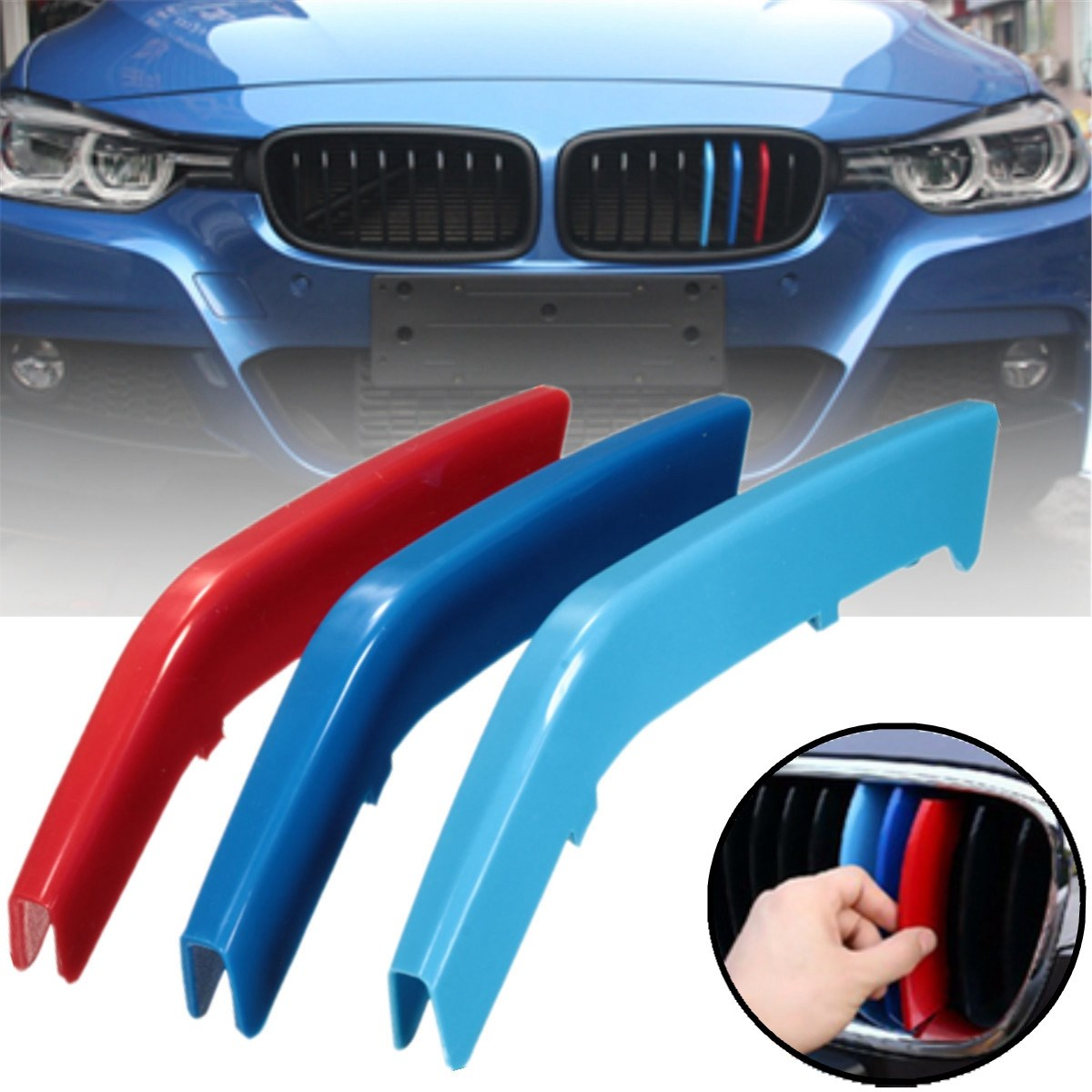 Pcsset M Color ABS Kidney Grill Bar Grille Covers Decal Strip - Bmw m colored kidney grille stripe decals