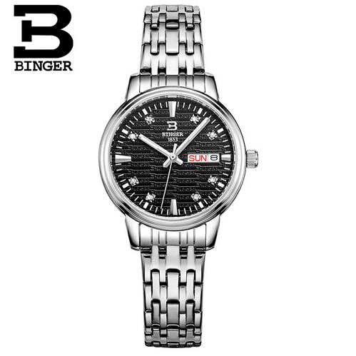 Switzerland Binger Brand Luxury watch woman New Fashion Steel Quartz Wristwatch Crystal Diamond Watches Women Reloj mujer