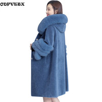 Women's Fur Coats Faux Fur Coat2018Winter Long Sleeve Fox Fur Hooded Jacket Warm Long Overcoat Sheep shearing outwear Female 3XL