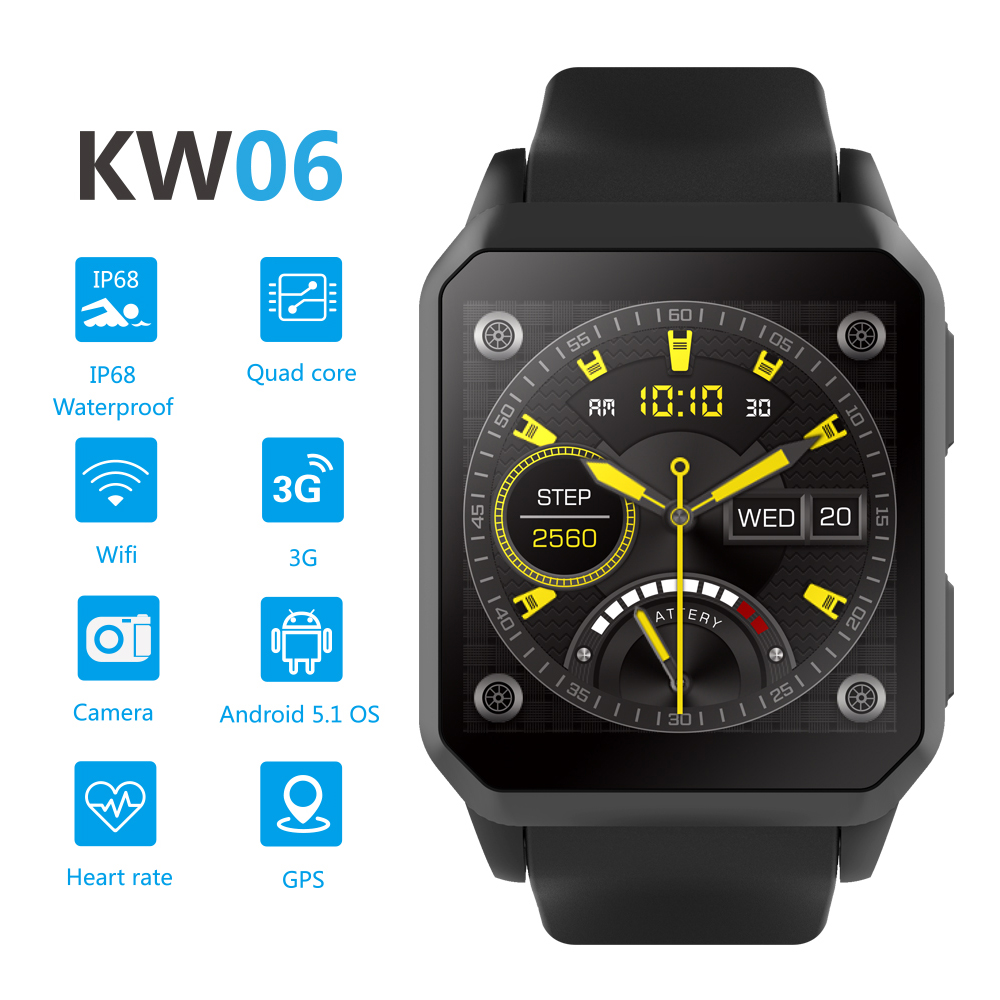 KW06 Men Smart Watch Android 5.1 Wrist Phone MTK6580 RAM512MB ROM 8G GPS 3G SIM Card Watch Heart Rate Smartwatch for Android IOS