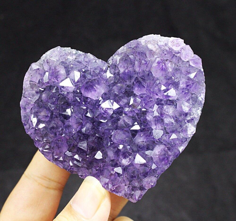 Аметист Сердце Природный кварцевый Geode минеральная драгоценный кристалл кластера
