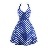 Hot Sale Women Deep V Neck Polka Dot Swing 50 S Housewife Pinup Dress Rockabilly Vintage