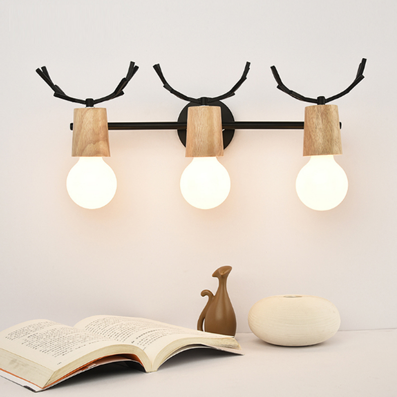 цены Toilet lights Iron Wood bathroom mirror light Entrance aisle Wall sconce Bedroom study led wall lights Modern led Wood wall lamp
