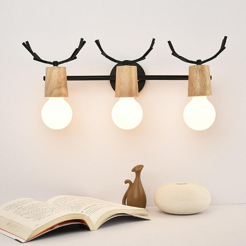 Wc lumières fer bois salle de bain miroir lumière entrée allée applique murale chambre étude mur led lumières moderne led bois applique murale