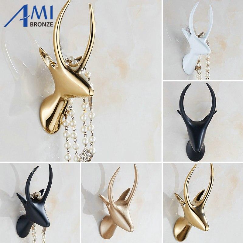 Solid Antelope Head Coat Hooks Wall Hang Mounted Towel Hook Gold / Black /Chrome Clothes Hook Bathroom Hardware