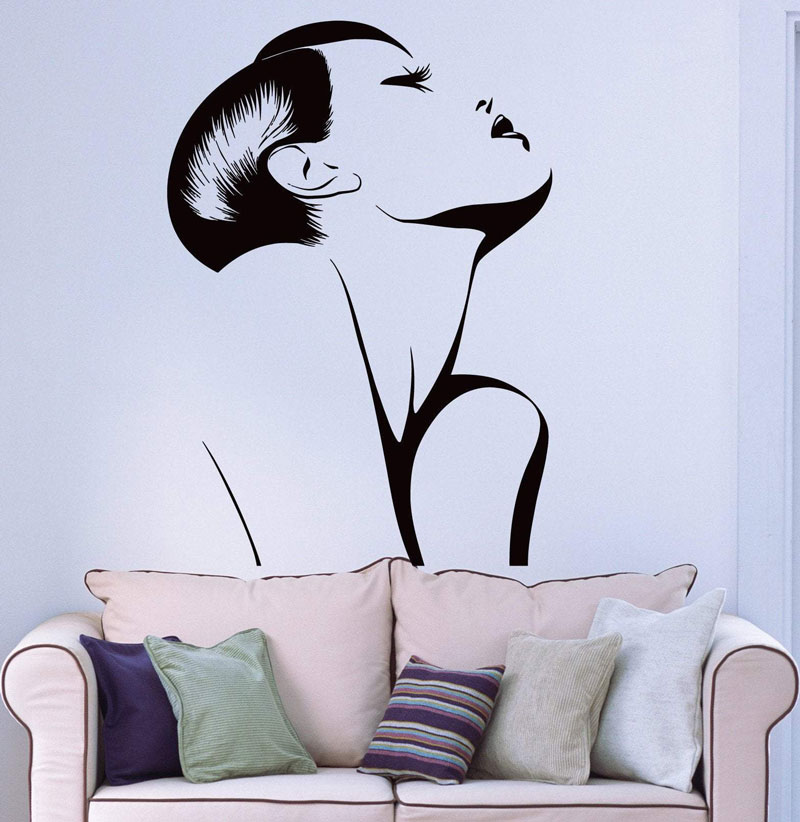 Wall Sticker Vinyl Applique Fashion Hot Sexy Girl Woman Barber Shop Decoration Salon Beauty  NH14