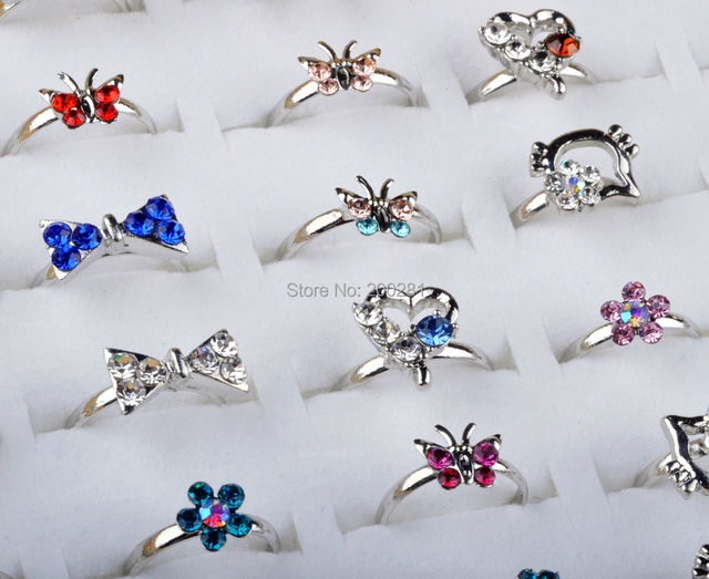 colorful gift ring crystal kid meninas silver aneis in infantis from cartoon girl para rings item adjust cat engagement wedding bow for