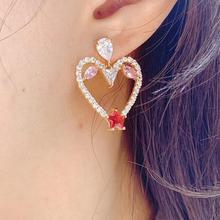 Trendy Sweet Heart Shape Cubic Zirconia Long Pendant Wedding Party Lover Earrings fashion jewelry E9145