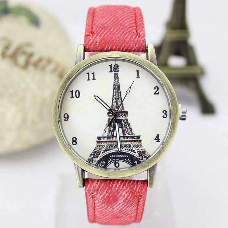 Новые стильные кварцевые часы унисекс спортивные часы из джинсовой ткани ЖЕНСКИЕ НАРЯДНЫЕ часы Эйфелева башня винтажные наручные часы Relogio