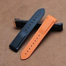 Recién llegado de silicona suave del reloj Band naranja correa de reloj negro correa de caucho de silicona 20 mm 22 mm Sports horas correa