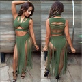 2016 Summer Two Piece Sexy Suit Tassel Hollow Sleeveless Bandage Crop Tops and Skirt Set Nightclub Fashion Party Women Clothing