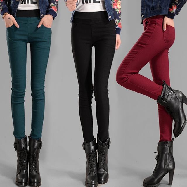 2016 más el tamaño de terciopelo grueso otoño y el invierno cálido pantalones delgados elásticos de terciopelo cálido leggings ocio pantalones 3 colores