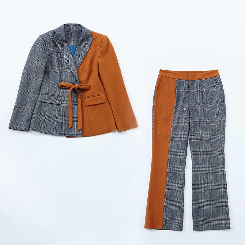 Europa y los Estados Unidos Mujeres Nuevo invierno ocio moda color mosaico pequeño traje con delgada pierna recta femenina traje