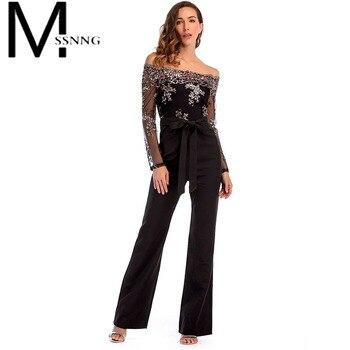 MSSNNG 2018 sexy fuera del hombro mujeres mono slash cuello malla patchwork  verano body bodycon lentejuelas casual mono f643daff1e5