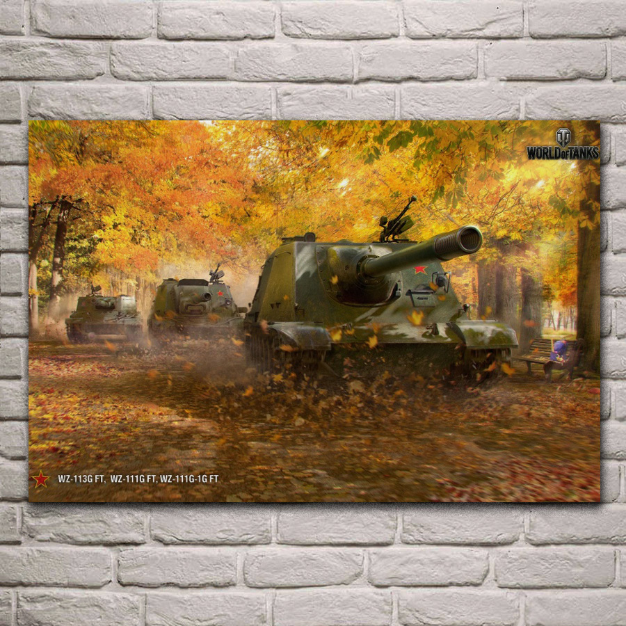 tank destroyers autumn world of tanks game fan art living room decor home wall art decor wood frame fabric posters KH549 image