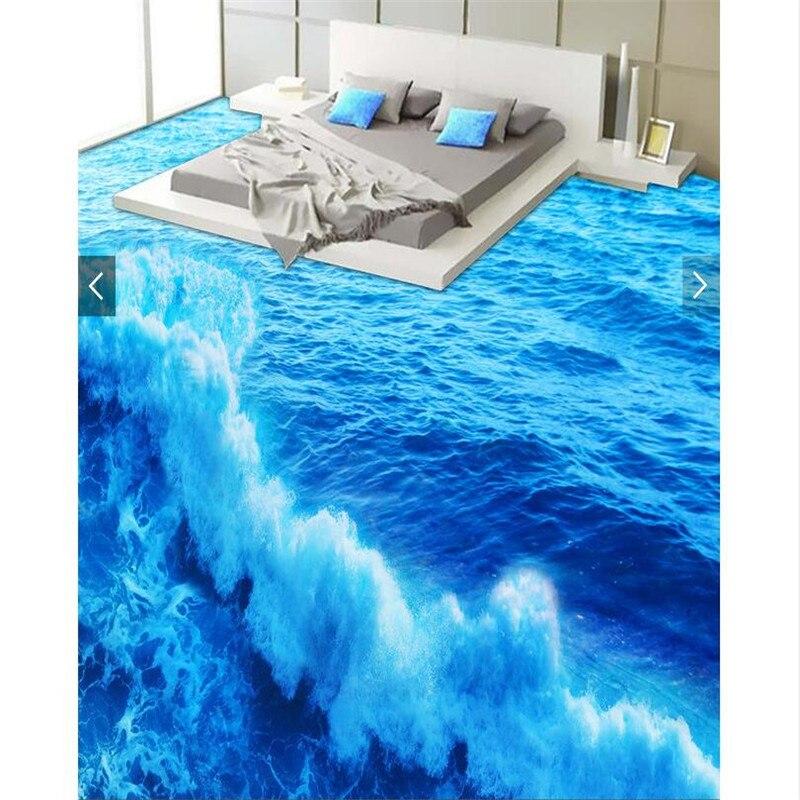 Beibehang современный пол на заказ hd синий волне Нескользящие водонепроницаемые утолщенные ванная комната с кухня пол