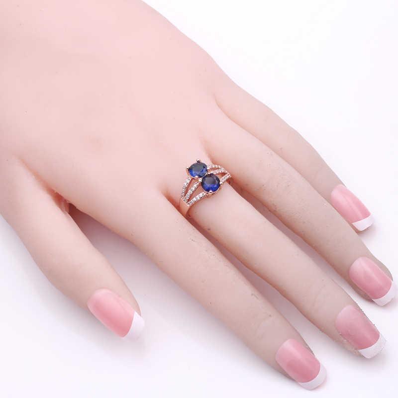 Женские для девушек кольца на палец 2 кольцо с красным Цирконом розовое золото ювелирные изделия винтажные Свадебные Кольца для женщин синий зеленый кристалл ювелирные изделия