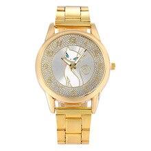 Роскошные Дамы Горный Хрусталь Золотые Часы Мода Персидская Кошка Повседневная Женщины Часы Из Нержавеющей Стали Кварцевые Наручные Часы Relogio Feminino