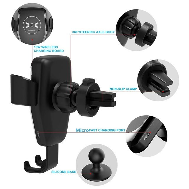 Automatic Gravity Qi Wireless Car Charger Mount For IPhone 11 XS XR X 8 10W Fast Charging Phone Holder for Samsung S10 S9 3