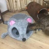 Hot Sale Outono inverno casa de cachorro gato quente casa sofás dos desenhos animados do rato forma ninho gato de estimação túnel cama pet à prova de vento cama