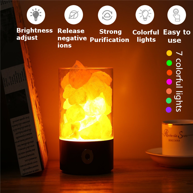Smuxi Himalayan Salt Lamp Pink Salt Rock Crystal Night Light With Touch Dimmer Switch Wall Night Lamp For Aisle Bedroom цена