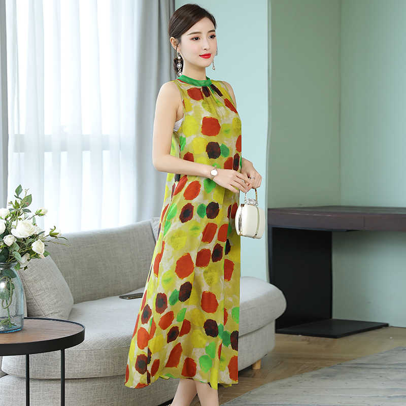 Yellow Fake Silk Polka Dot Dress High Quality Plus Size Maxi Sleeveless Summer Party Dresses for Big Women Party Robe Clothing