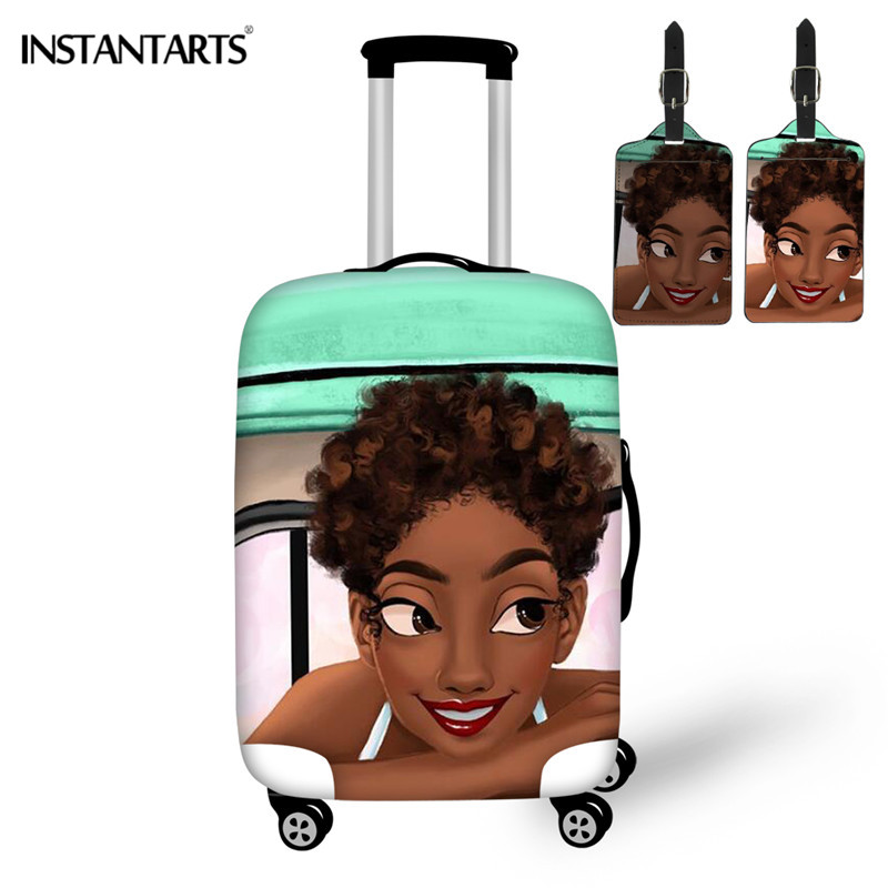 INSTANTARTS 3Set Brand 3D Print Fashion Black Girls Luggage Protector Cover Suit For