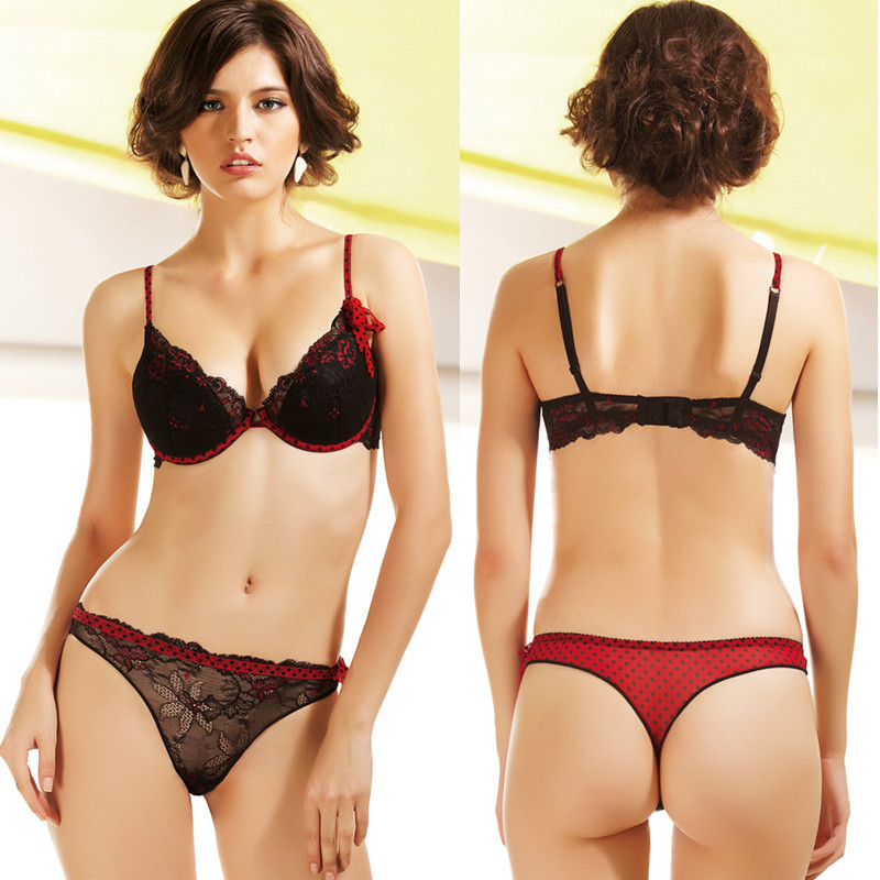 Newest Women Push Up Bra Sets Sexy Lace Panties Black And -5654