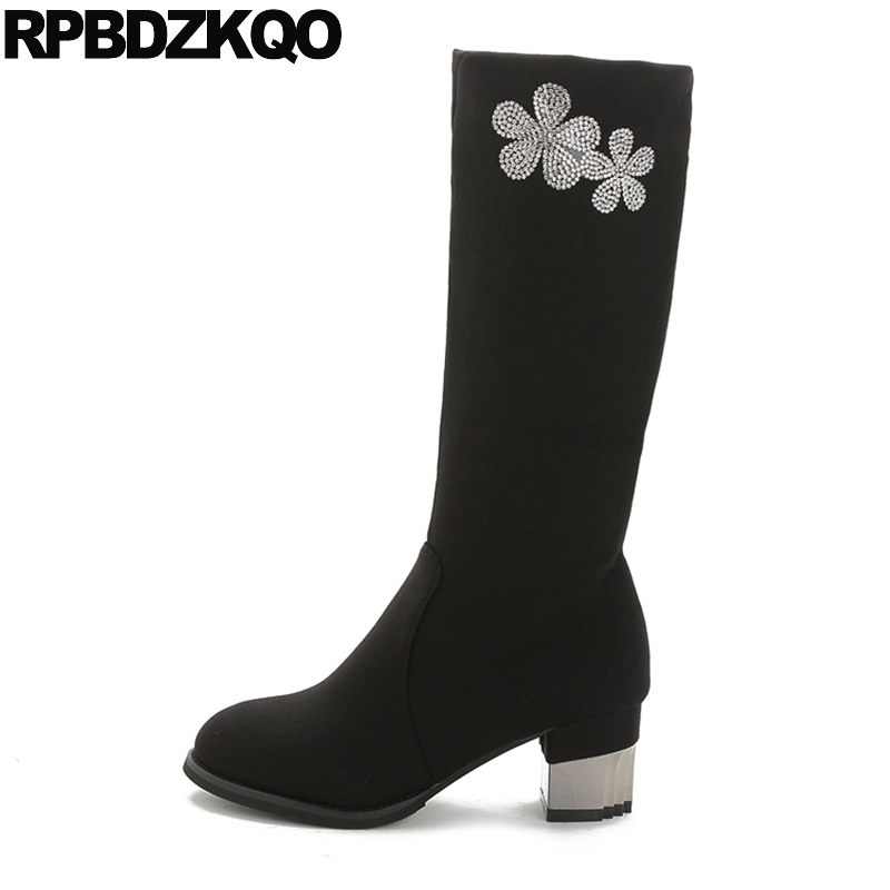 Cheap Chunky Black High Heel Suede Rhinestone Slim Stretch Shoes Fall Crystal Women Boots Winter 2017 Mid Calf Slip On Flower slip on winter boots stretch lycra